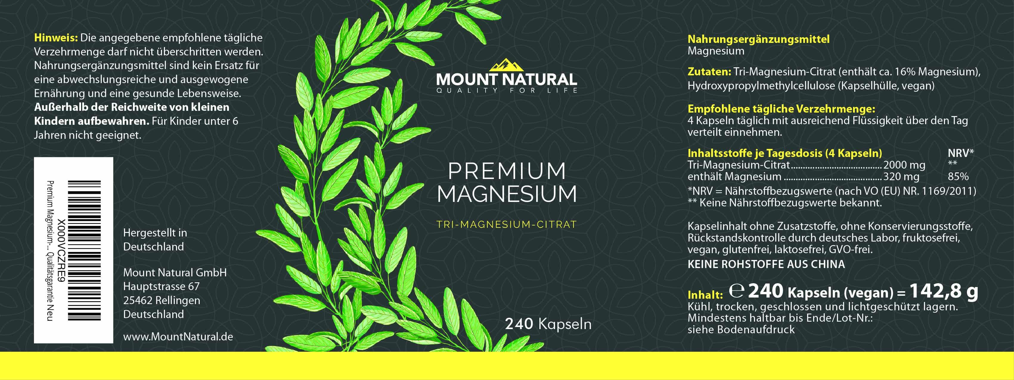 Premium Magnesium Mount Natural Tricitrat Magnesiumcitrat