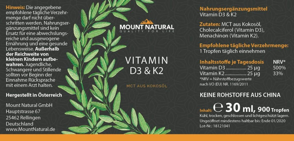 Etikett Mount Natural Vitamin D3 K2 Inhaltsstoffe