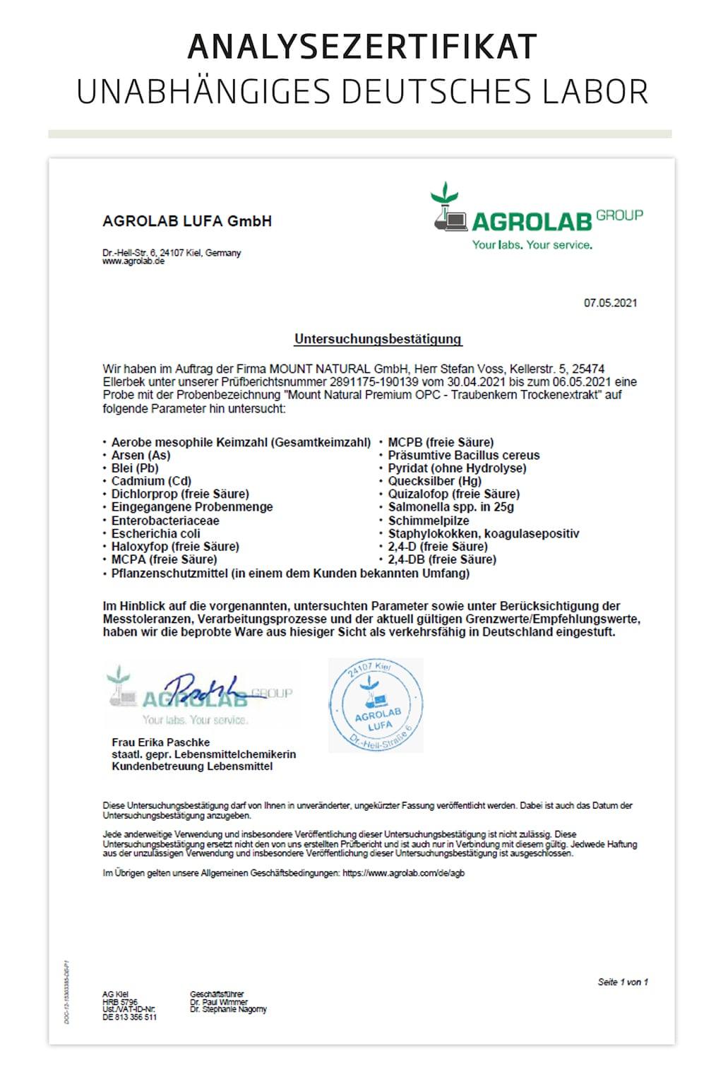 Mount Natural - Premium OPC Haut und Zellschutz mit natürlichem Vitamin C - Untersuchungsbestätigung