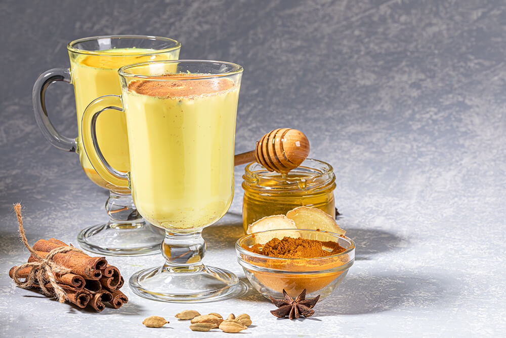 Goldene Milch Kurkuma Honig
